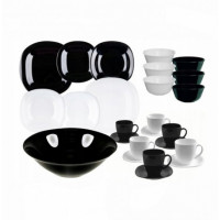 """Сервиз столовый черно-белый """"Carine White&Black"""" 38 предметов Luminarc (P4676)"""