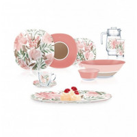 Столовый сервиз розовый Carina Flower Pad Rose 46 предметов Luminarc (Q5866)