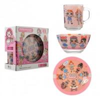 Набор детский для обеда, 3 предмета (A9551/2) Лол розовый