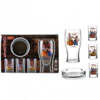 Набор Helios Антистресс 1 бокал для пива 570 мл, 3 стопки 50 мл, пепельница (8214)