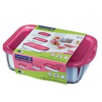 Пищевой контейнер Luminarc Keep`N прямоугольный с крышкой малиновый 380 мл (SD448)