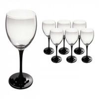Набор бокалов для вина Luminarc Домино  на черной ножке 350 мл 6 шт (J0015)